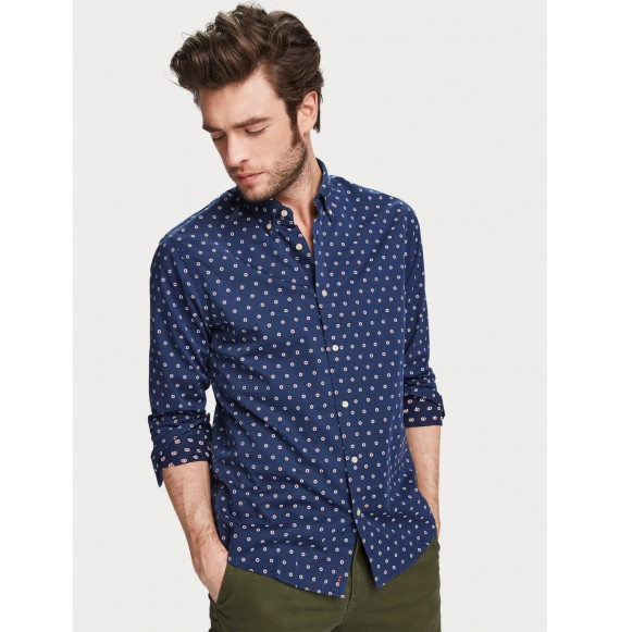 Camisa con minidiseño de jacquard Regular fit